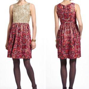 Anthropologie Wren Jacquard Sequin Dress F3936
